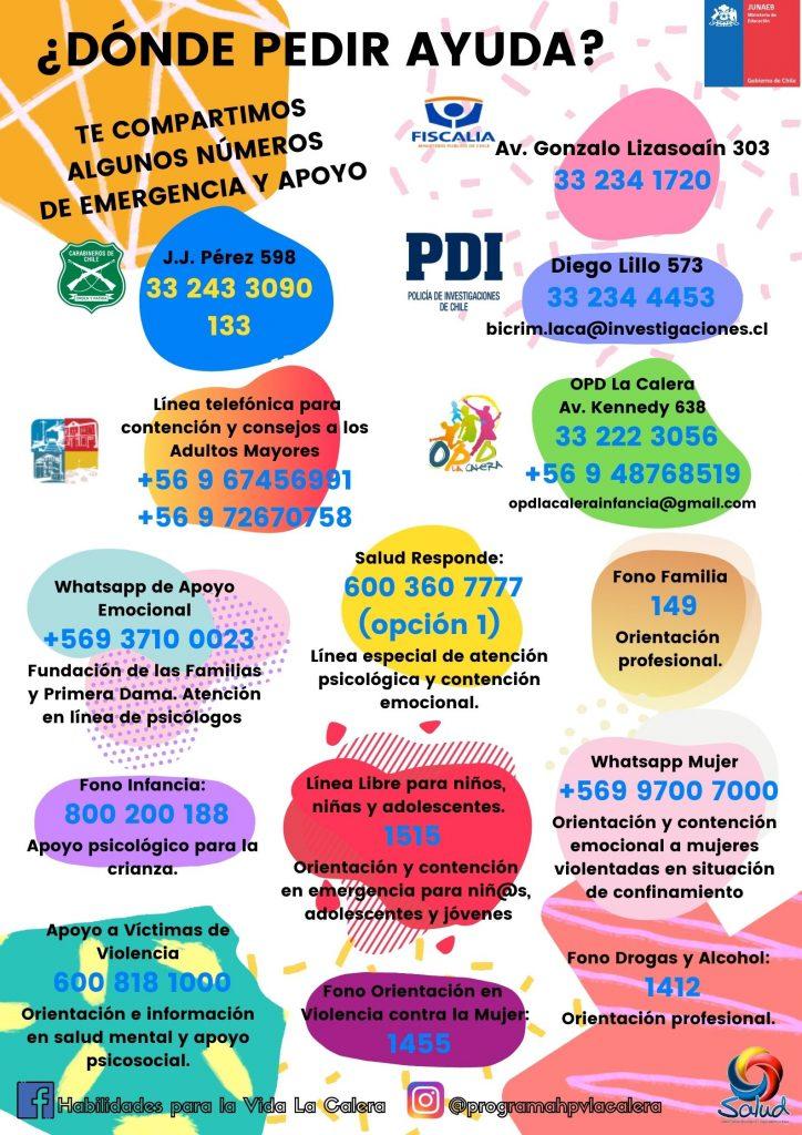 Infografía teléfonos de apoyo